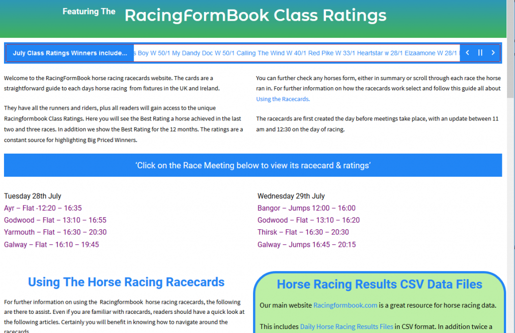 RacingFormBook Racecard Meetings